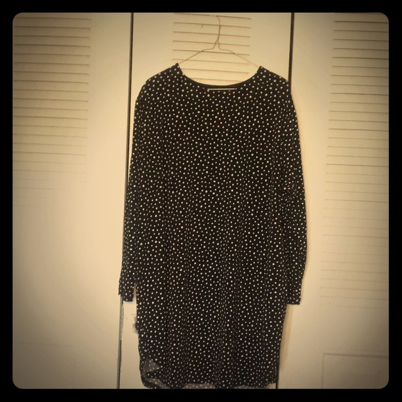 Black polka dot long sleeve dress